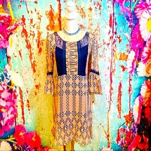 BCBG GENERATION BOHO LACE & CHIFFON DRESS